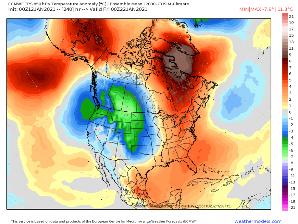14-km EPS Global North America 850 hPa Temp Anom 240.png